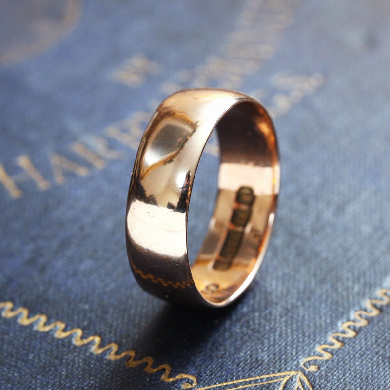 Antique Date 1918 Men's 9ct Gold Wedding Ring