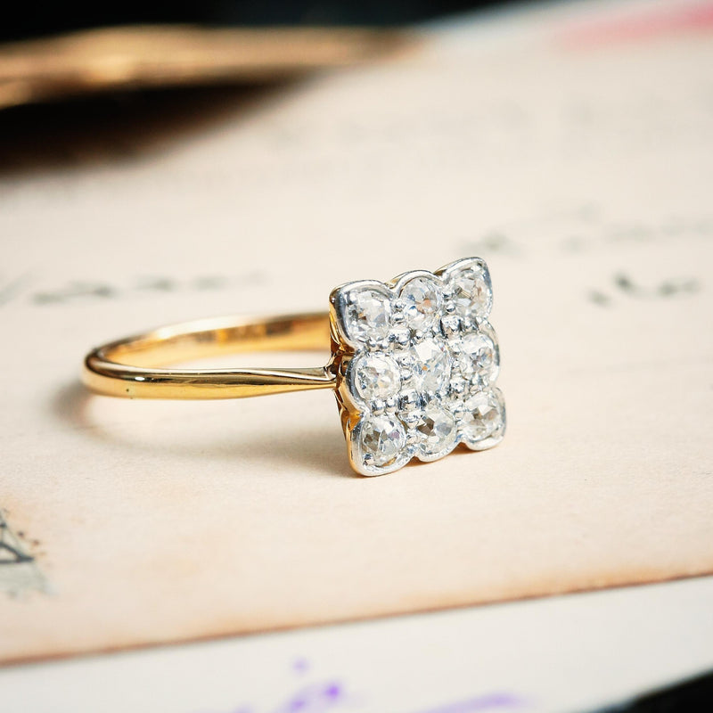 Sparkles! Vintage 1930's Square Diamond Cluster Ring