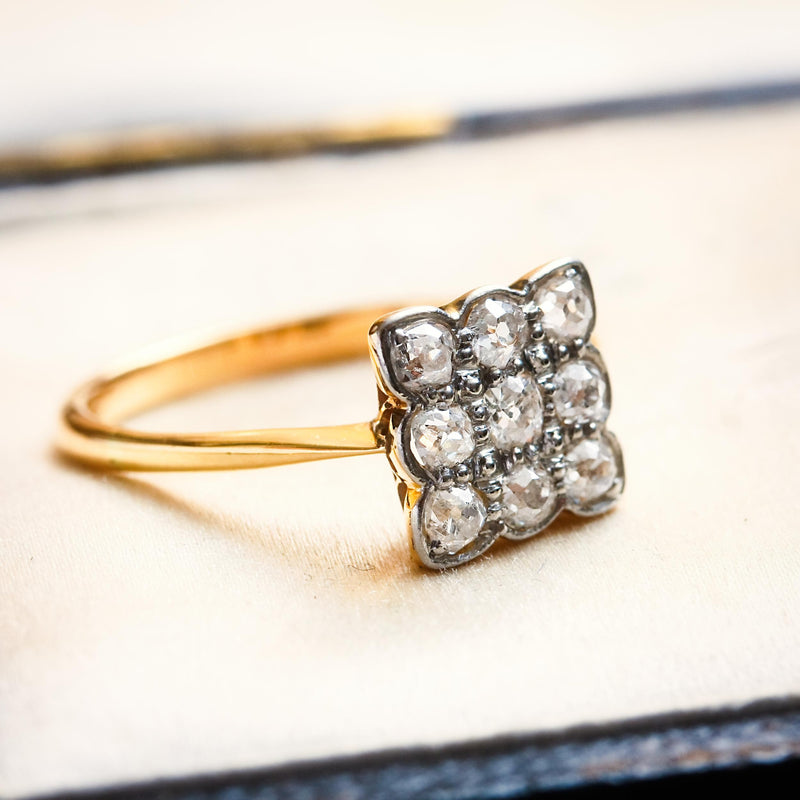 Vintage 1930's Square Diamond Cluster Ring