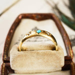 Date 1876 15ct Gold Turquoise & Pearl Ring