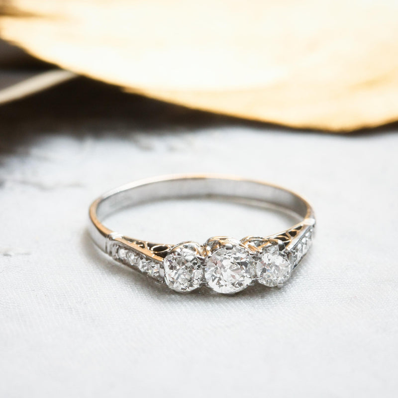 Pristine Vintage Diamond Trilogy Engagement Ring