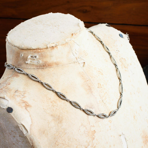 Fine French Silver Paste Riviere Necklace