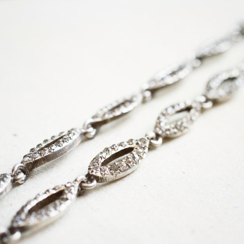 A Fine French Silver Paste Riviere Necklace