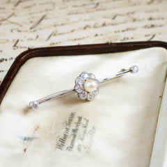 Creme de la Creme Antique Pearl & Diamond brooch