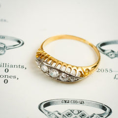 Lyrical Lovely Edwardian Diamond Five Stone Ring