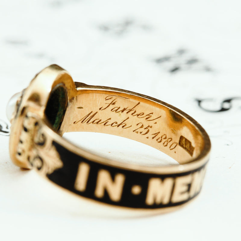 Endearing Date 1867 Enamelled Gold Mourning Ring