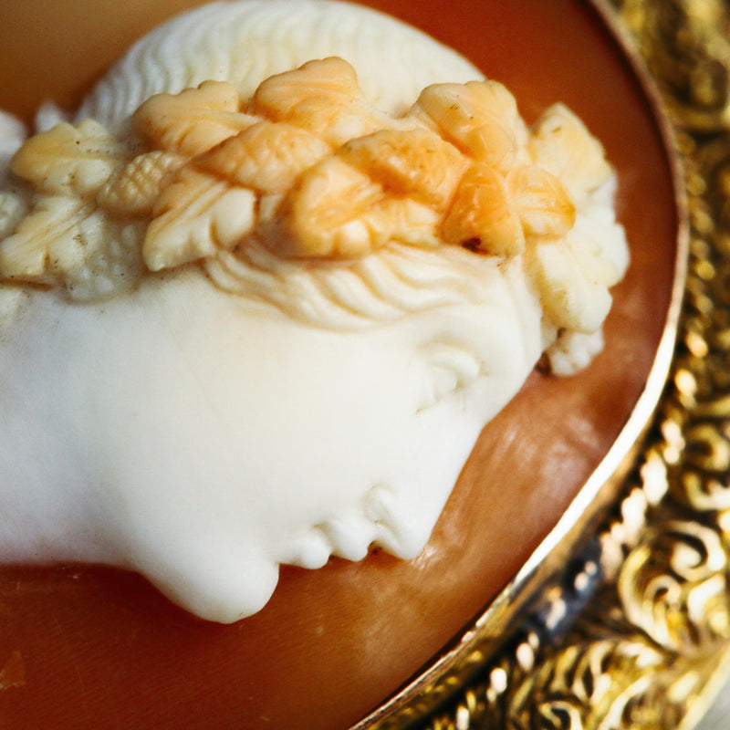 Rare Superior Hand Carved Shell Cameo of Dionysus