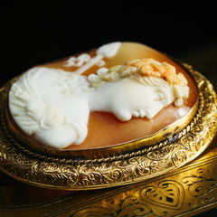 Hand Carved Shell Cameo of Dionysus