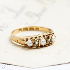 Sweet Darling Date 1922 Pearl and Diamond Ring