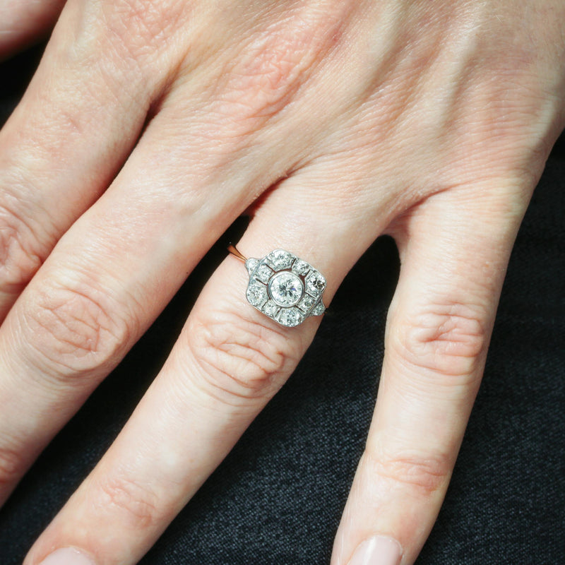 Top Quality Luxe Lovely Art Deco Diamond Cluster Ring