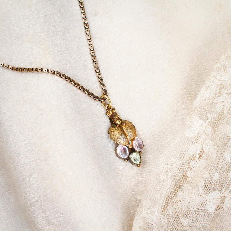 Fond Antique Victorian Chrysoberyl and Pink Topaz Pendant