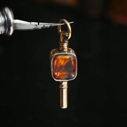 Antique 19th Century Rock Crystal and Bloodstone Watch Key