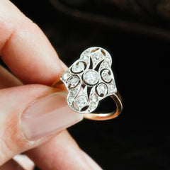 Continental Luxe! Antique Diamond Filigree Panel Ring