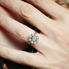 Antique Hand Cut Diamond Cluster Ring