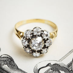 Rare Lovely! Antique Hand Cut Diamond Cluster Ring