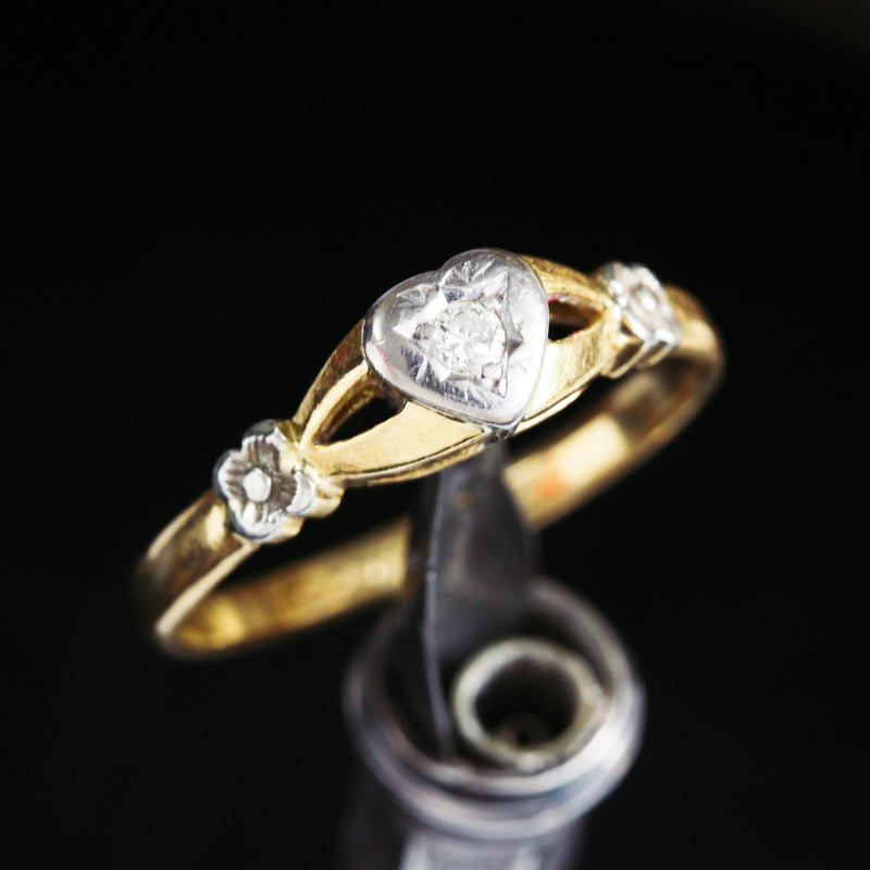Heart Shaped Vintage Diamond Engagement Solitaire Ring