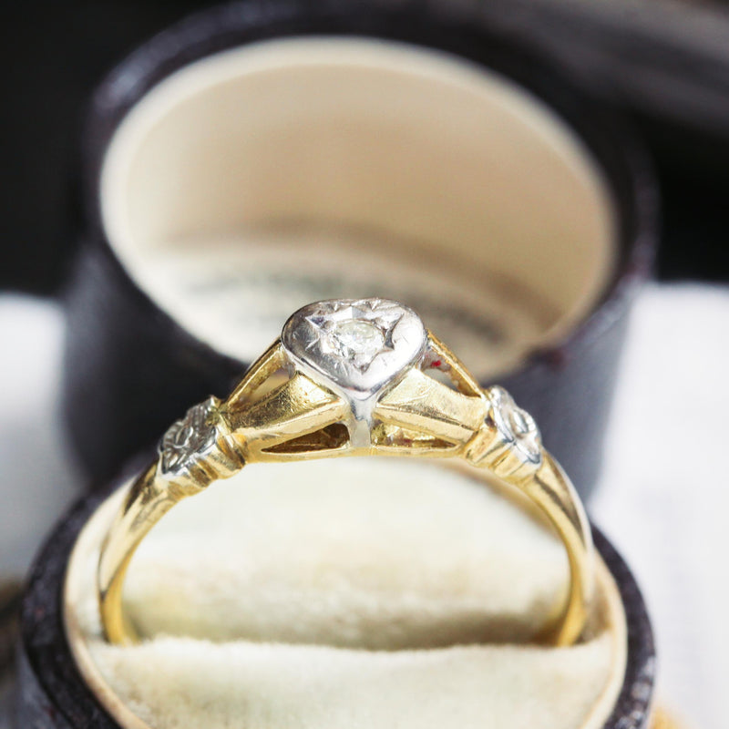 Sweetest Heart Shaped Vintage Diamond Solitaire Ring