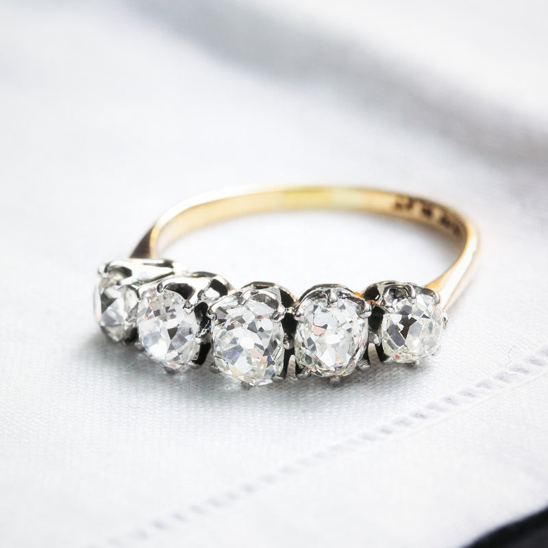Majestic 1.90ct Vintage Five Stone Diamond Ring