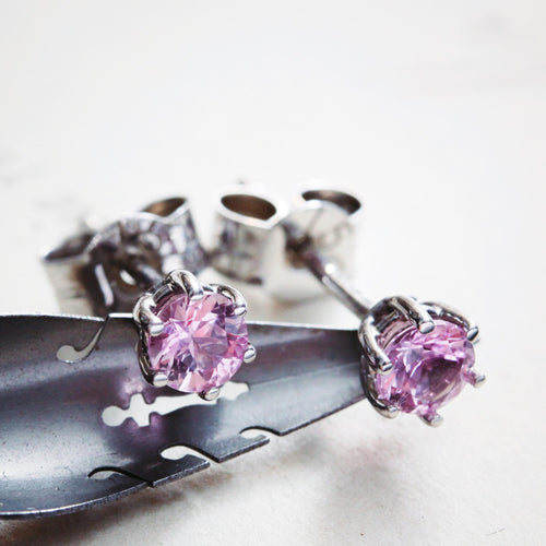 18ct White Gold Pink Topaz Earrings
