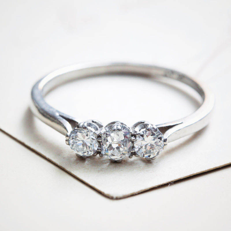Vintage Platinum Diamond Trilogy Engagement Ring