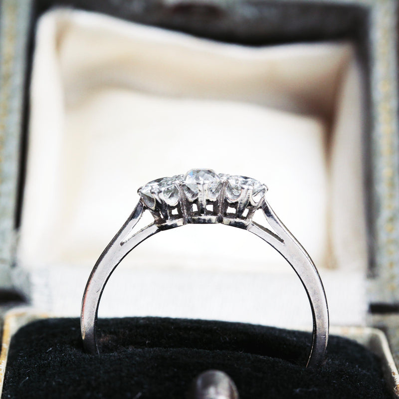 Superb Vintage Platinum Diamond Trilogy Engagement Ring