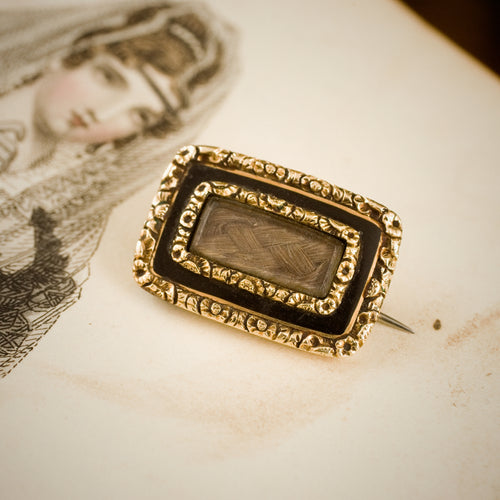 Fine Circa 1820's Enamelled Mourning Brooch