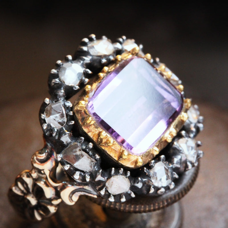 Antique Georgian Rose Amethyst and Diamond Ring
