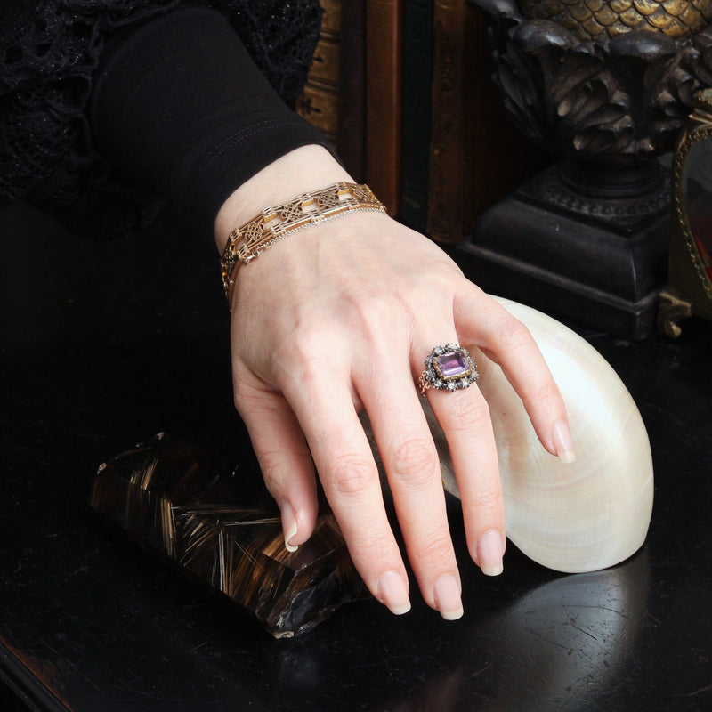 Prized Rare Antique Georgian Rose Amethyst and Diamond Ring