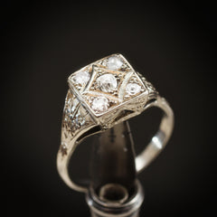 Dramatic Vintage 1950's Art Deco Diamond Cluster Ring
