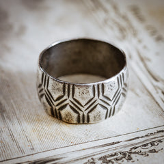 A Studio Made Vintage Modernist Silver Band Ring