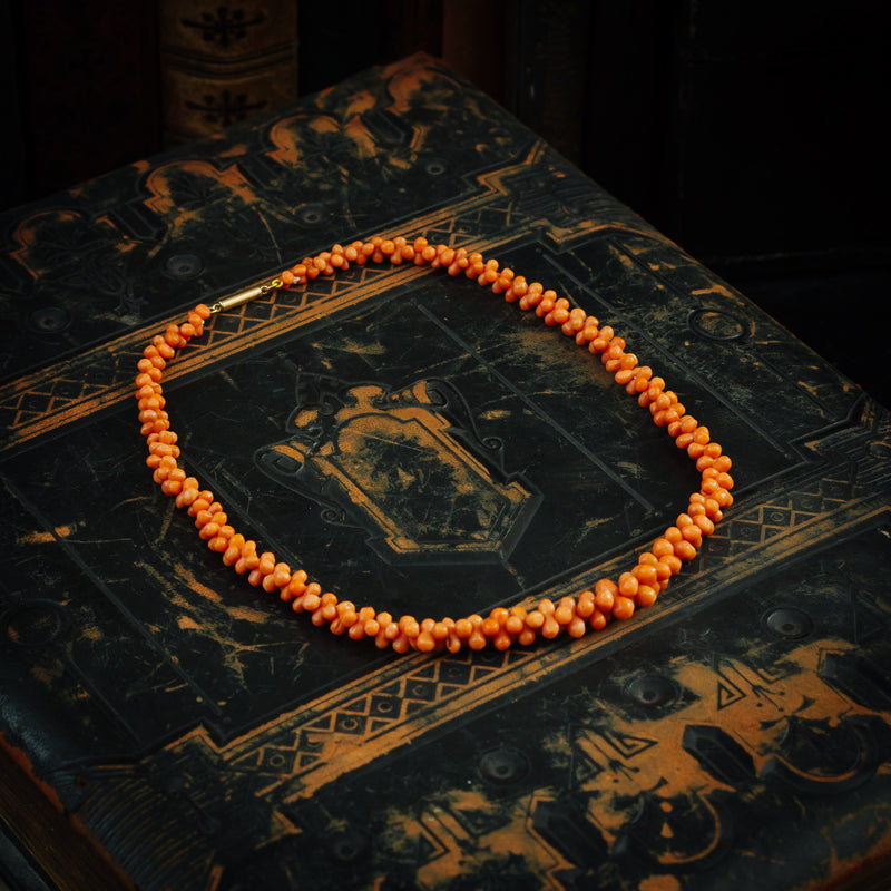 Hand Carved Antique Georgian Coral Necklace