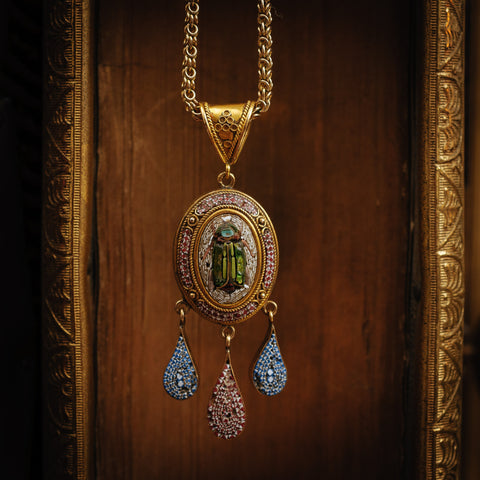 Astoundingly Rare Intricate Antique 15ct Gold Victorian Grand Tour Micro Mosaic Pendant