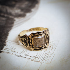 Picturesque Antique Floral Black Enamelled Mourning Ring