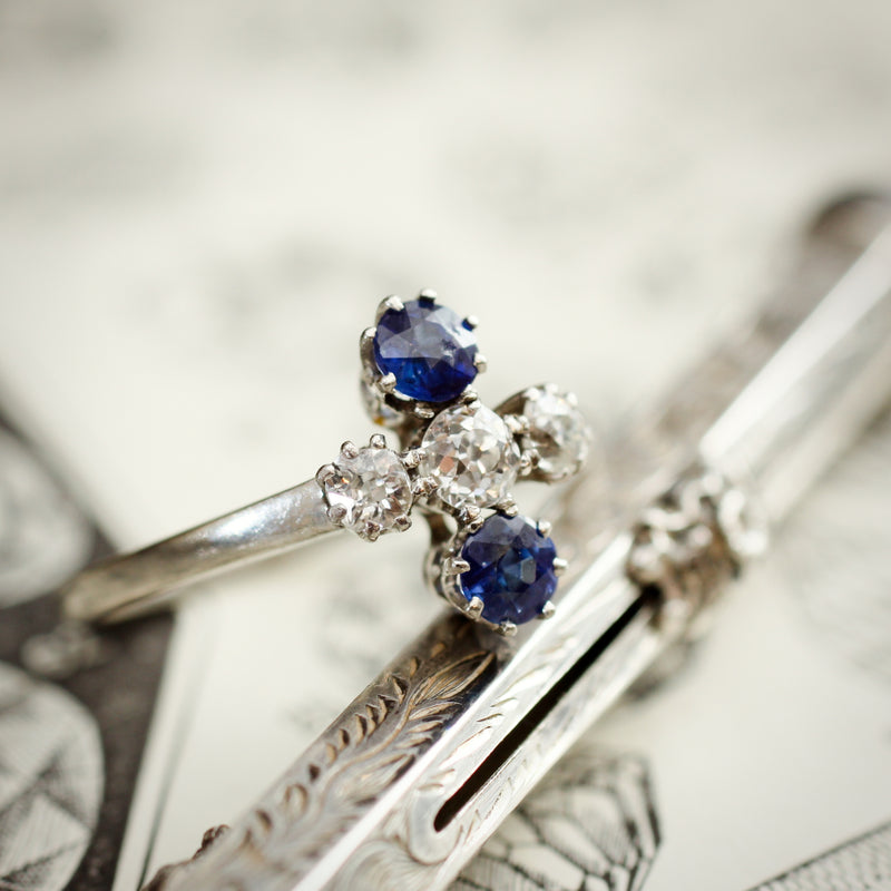 Uniquely Created Beautiful Antique Sapphire and Diamond Dress Ring