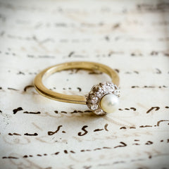 A Sweeet Little Hand Cut Diamond & Natural Pearl Cluster Ring