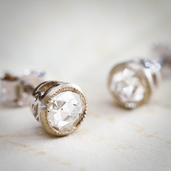 A Most Magical Pair of Rose-cut Diamond Stud Earrings