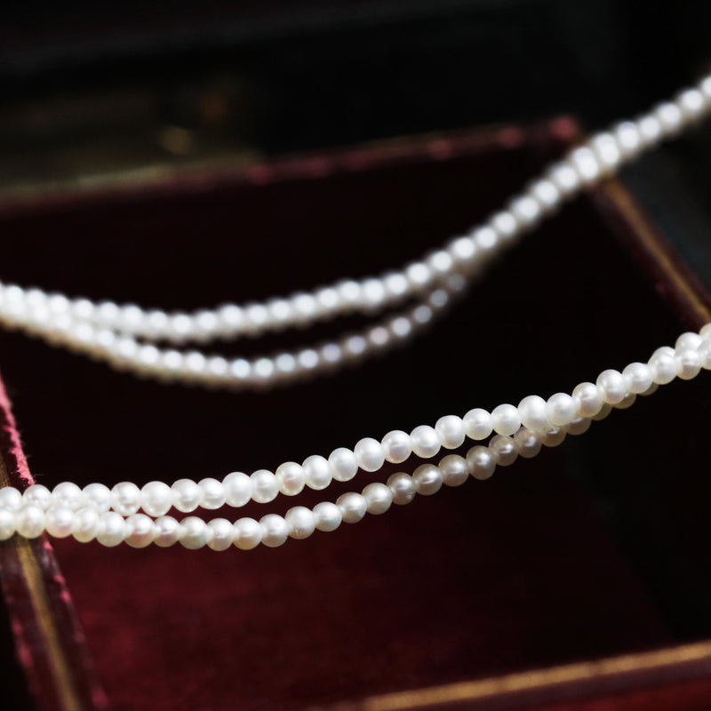 Sweet! Double Row Mini Seed Pearl Necklace