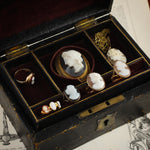 Romantic Antique Edwardian Portrait Shell Cameo Ring