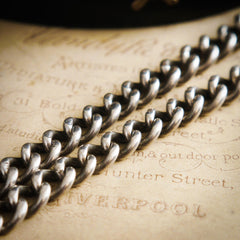 Date 1921 Silver Watch Chain Bracelet with Ornate Fob