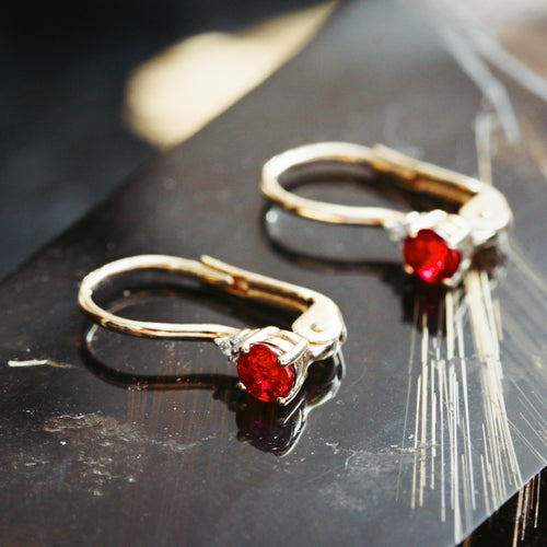 Continental Style Ruby and Diamond Earrings