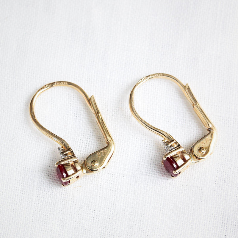 Ravishing Continental Style Ruby and Diamond Earrings