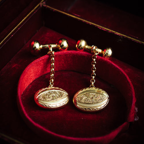 Antique Hand Engraved 9ct Gold Cufflinks