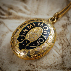 A Tender Antique Victorian 'IN MEMORY OF' Enamelled Mourning Locket