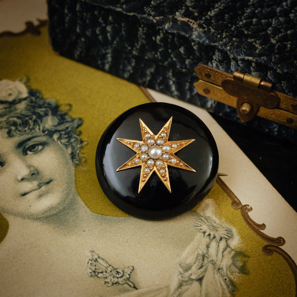 Beautiful Quality! Antique Victorian Onyx and Natural Seed Pearl Brooch