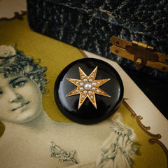 Antique Victorian Black Onyx Pearl Mourning Brooch