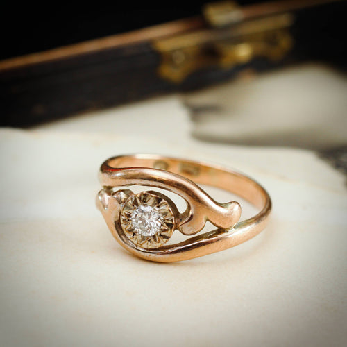 Pretty Vintage Rose Gold Twist Diamond Ring