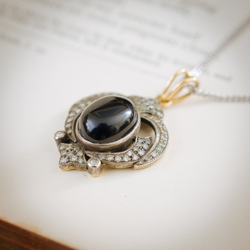 Gothic Black Onyx Diamond Pendant
