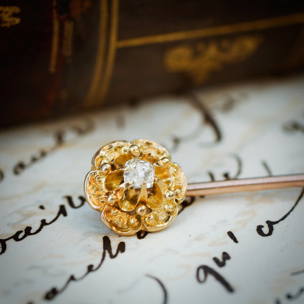 An Antique Diamond Fleurette Stick Pin