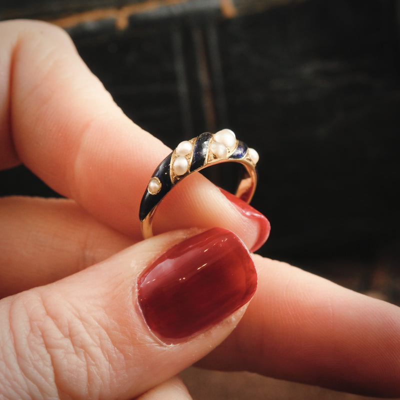 Sentimental Mid Victorian Royal Blue Enamel & Natural Pearl Ring