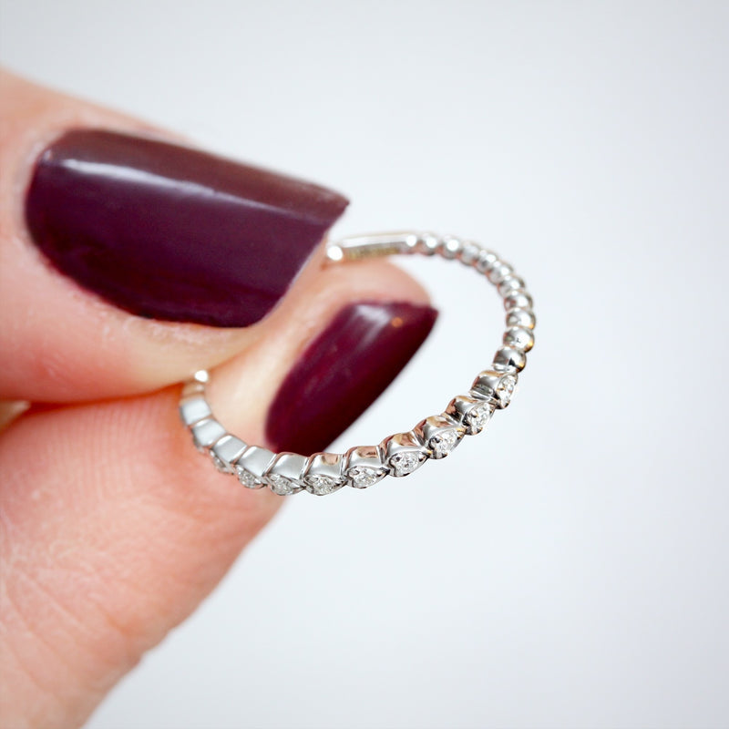 Dainty 9ct White Gold Diamond Stacking Band